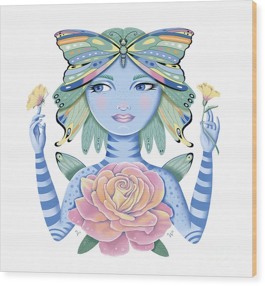 Insect Girl, Winga, With Rose Wood Print