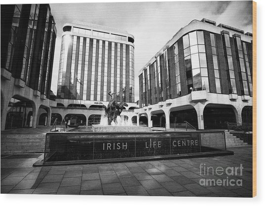 Irish Life Centre With Chariot Of Life Sculpture And Fountain Dublin Republic Of Ireland Europe Wood Print by Joe Fox
