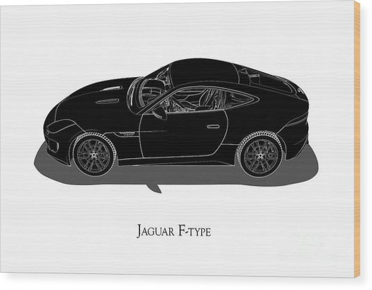 Jaguar F-type - Side View Wood Print