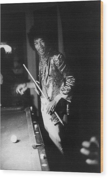 Jimi Hendrix Plays Pool Wood Print