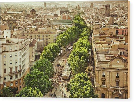 La Rambla Barcelona Wood Print