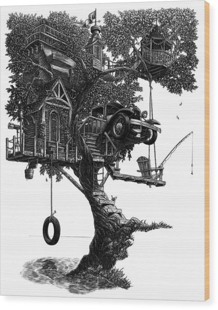Wood Print featuring the drawing Lake Front Dream House by Clint Hansen