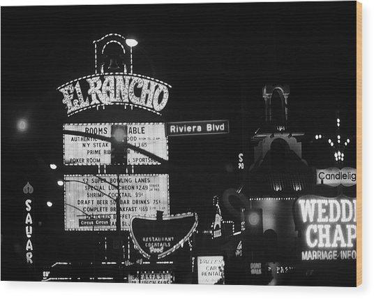 Las Vegas 1984 Bw #13 Wood Print