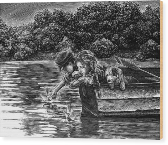 Wood Print featuring the drawing Launching Dreams by Clint Hansen