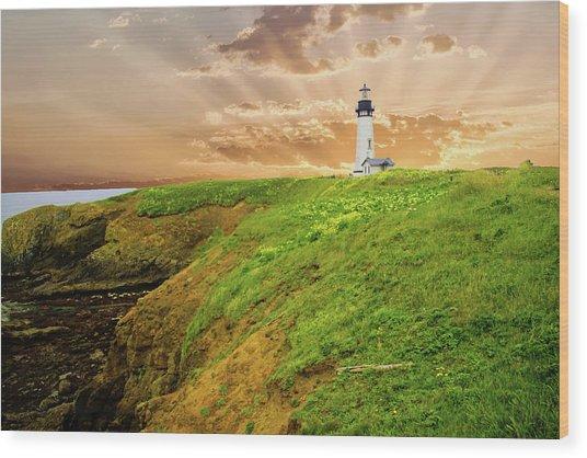 Lighthouse On  Yaquina Head  Wood Print