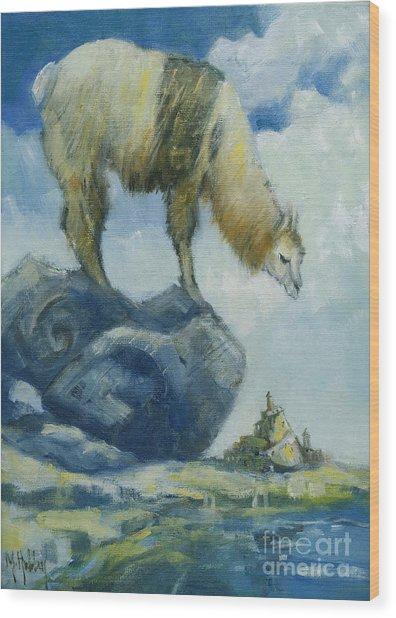 Llama And The Castle Wood Print