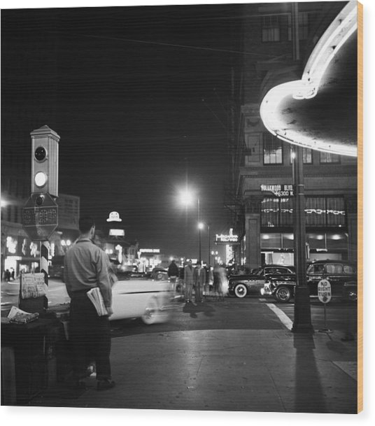 Los Angeles In The 1950s Wood Print by Michael Ochs Archives