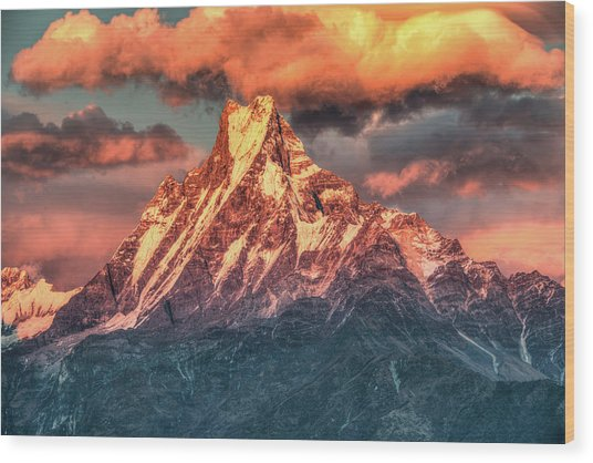 Machapuchare Mountain, Fish Tail In Wood Print by Emad Aljumah