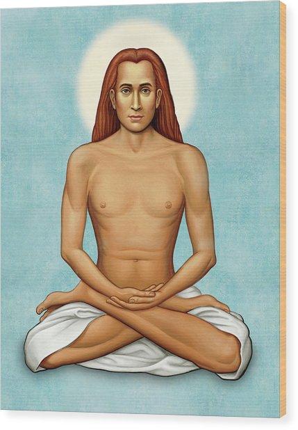 Mahavatar Babaji On Blue Wood Print