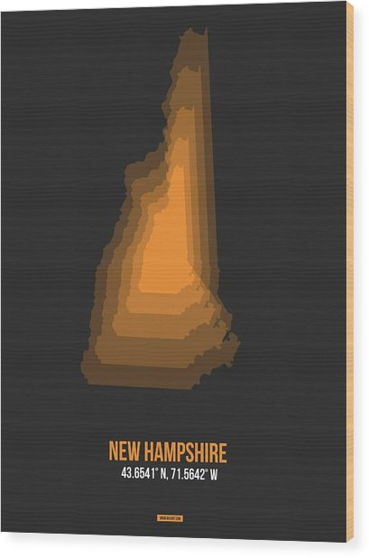 Map Of New Hampshire  Wood Print