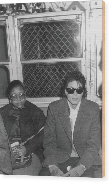 Michael Jackson In Bad Wood Print by Hulton Archive