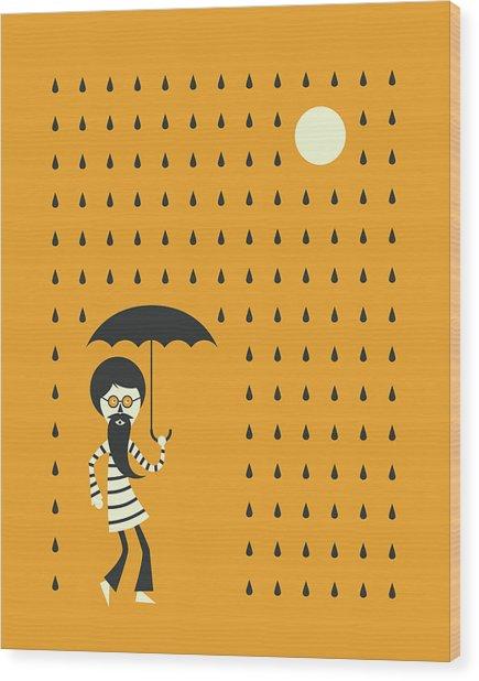 Minimal Rain Wood Print by Jazzberry Blue