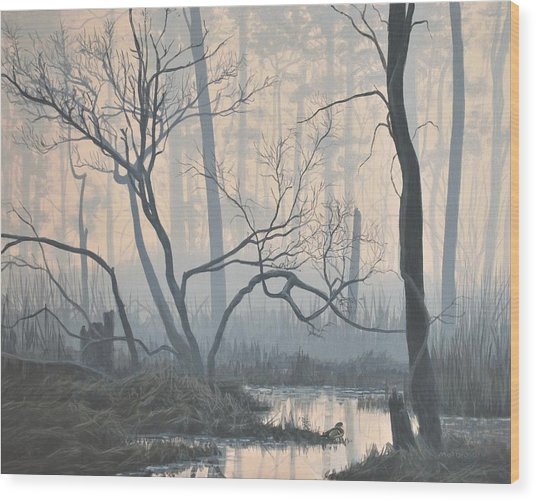 Misty Hideaway - Wood Duck Wood Print