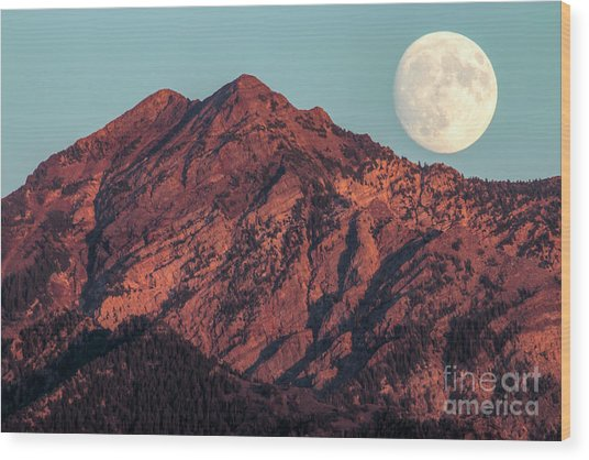 Wood Print featuring the photograph Moon Rising Over Twin Peaks by Spencer Baugh