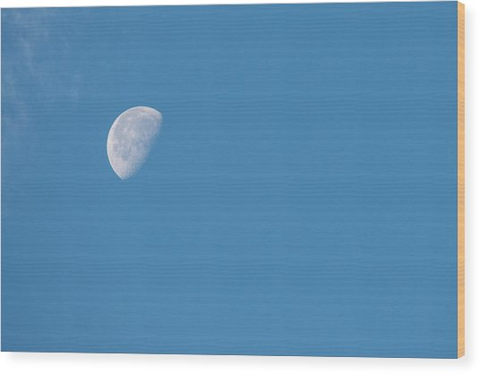 Moon With Clouds And Blue Sky Wood Print by Cindy Miller Hopkins