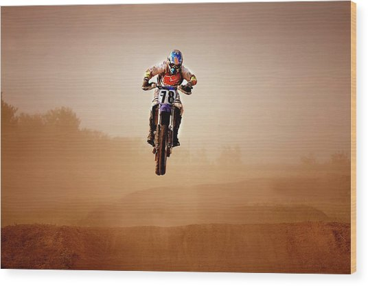 Motocross Rider Wood Print by Design Pics