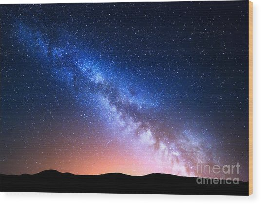 Night Landscape With Colorful Milky Way Wood Print