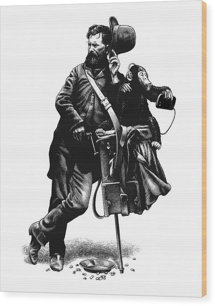 Wood Print featuring the drawing Organ Grinder by Clint Hansen