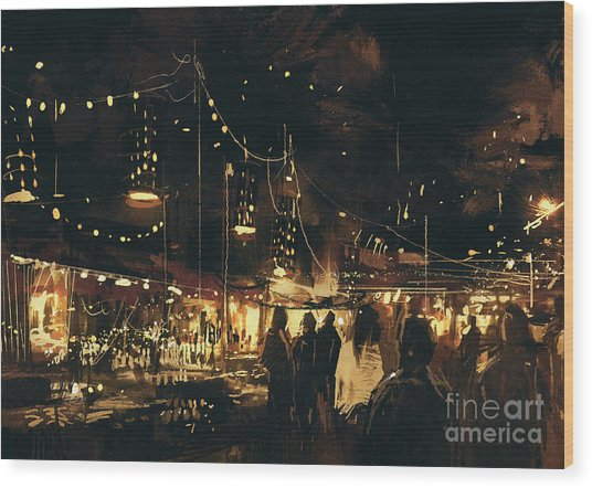 Painting Of Shopping Street City With Wood Print