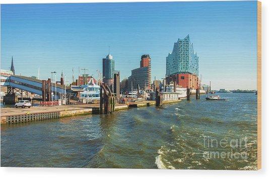 Panoramic View Of Hamburg. Wood Print