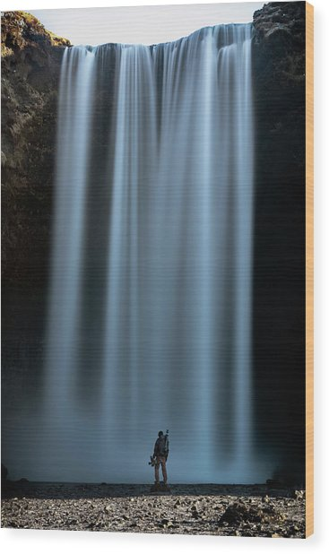 Amongst Giants Skogafoss Iceland Wood Print