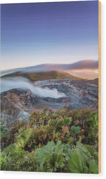 Poas Volcano Crater At Sunset, Costa Wood Print by Matteo Colombo