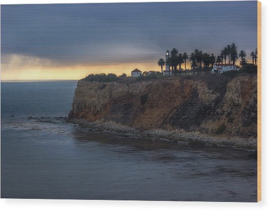 Point Vicente Lighthouse At Sunset Wood Print
