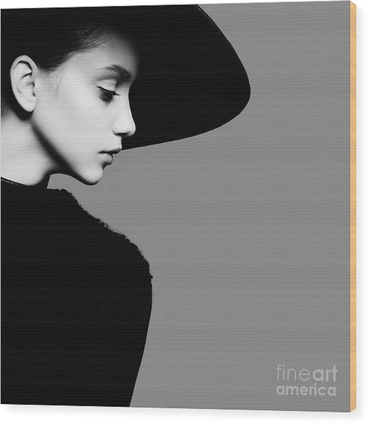 Portrait Of Beautiful Girl In Hat In Wood Print by Yuliya Yafimik