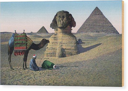 Praying Men At Great Sphinx Wood Print