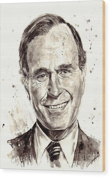 President George H. W. Bush Portrait Wood Print