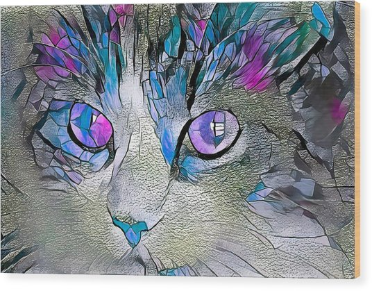 Purple Stained Glass Kitty Wood Print