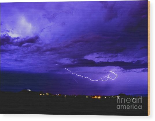 Rays In A Night Storm With Light And Clouds. Wood Print
