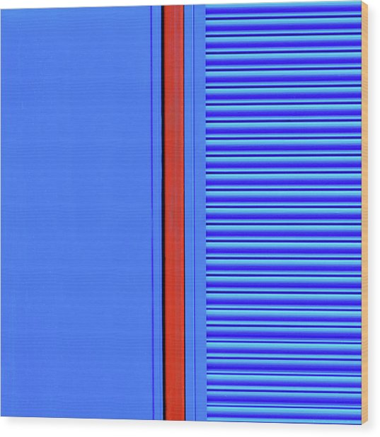 Blue With Red Stripe Wood Print