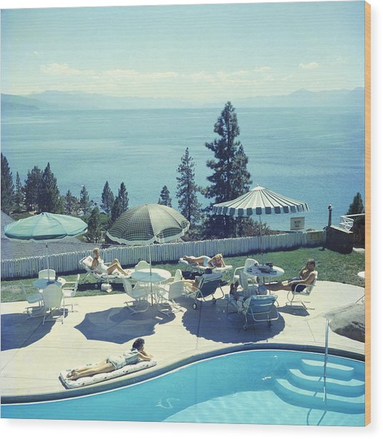 Relaxing At Lake Tahoe Wood Print by Slim Aarons