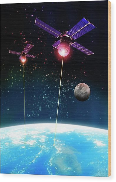 Satellite Attack, Artwork Wood Print by Victor Habbick Visions