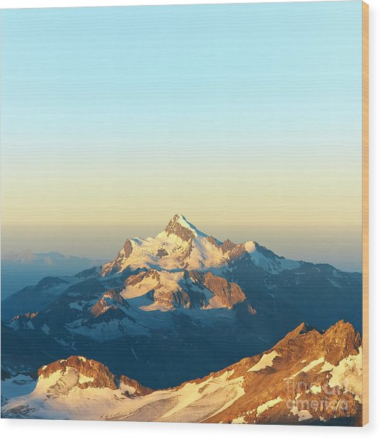 Scenic Alpine Landscape With And Wood Print