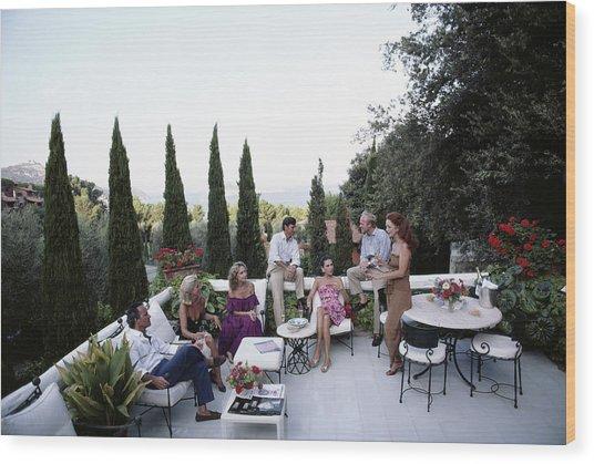 Scio Family Villa Wood Print by Slim Aarons