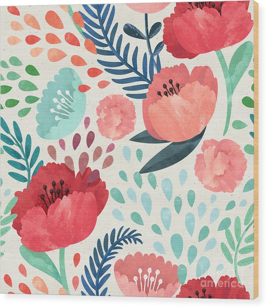 Seamless Hand Illustrated Floral Wood Print
