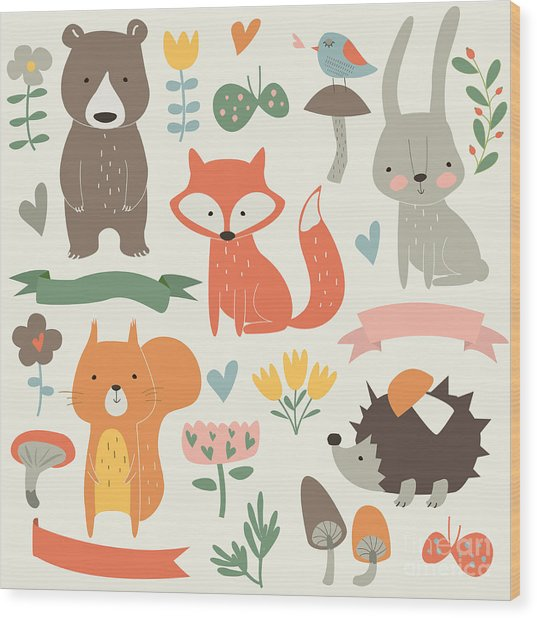 Set Of Forest Animals In Cartoon Style Wood Print by Kaliaha Volha