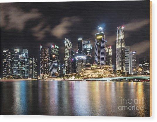 Singapore By Night Wood Print