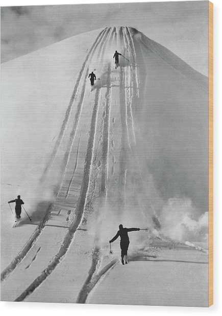 Skiing Straight Wood Print