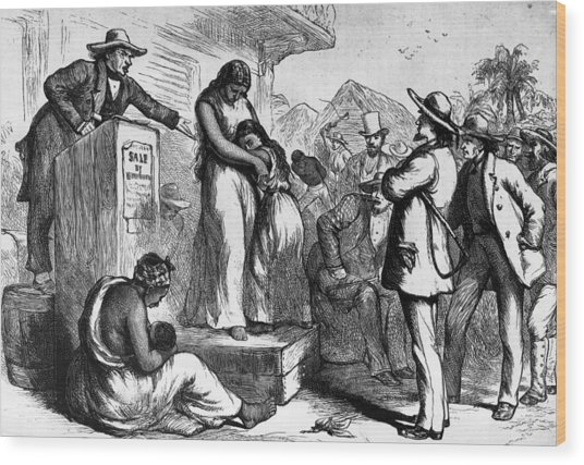 Slave Auction Wood Print by Rischgitz