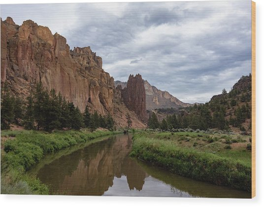 Smith Rock Reflections Wood Print