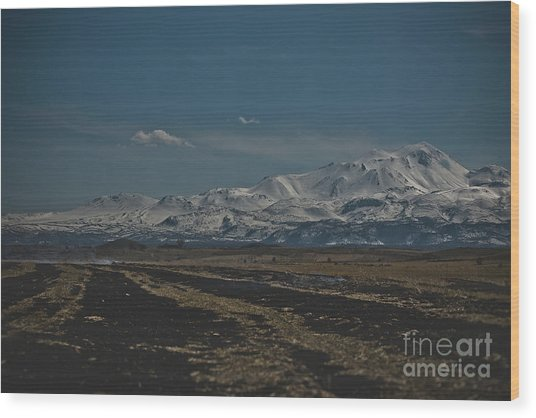 Snow-covered Mountains In The Turkish Region Of Capaddocia. Wood Print