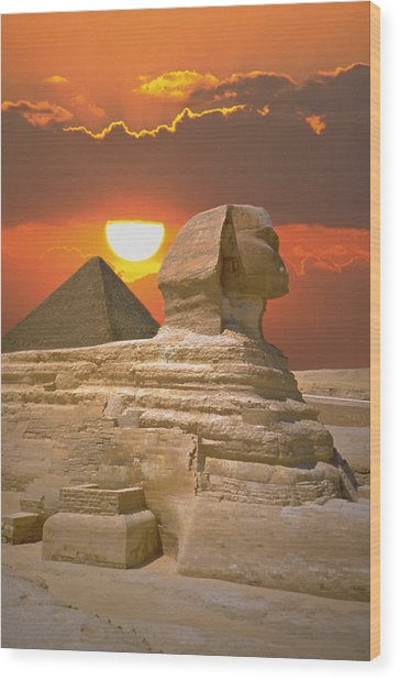 Sphinx And Pyramid At Sunset Wood Print