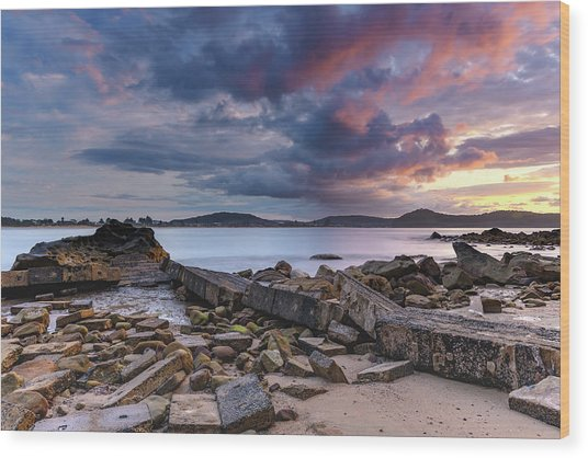 Stormy Sunrise Seascape Wood Print