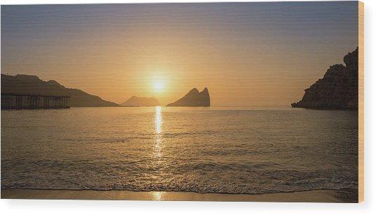 Sunrise On A Beach In Aguilas, Murcia Wood Print