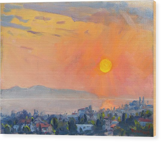 Sunrise Over Dilesi Athens  Wood Print