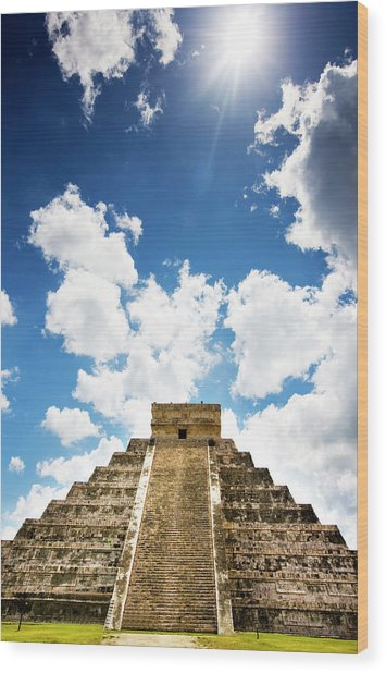 Sunshine In Chichen Itza Wood Print