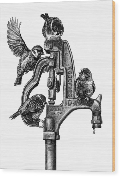 Wood Print featuring the drawing Talk Around The Watercooler by Clint Hansen